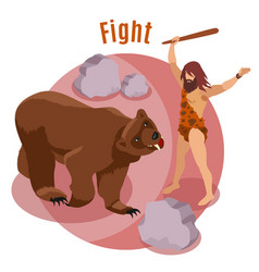 Stone age hunting concept vector