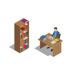 Student studies with laptop at desk in library vector
