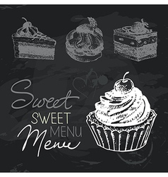 Sweet cakes hand drawn chalkboard design set vector