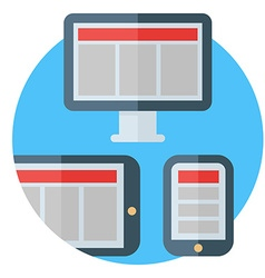 Tablet computer and smartphone screens colored vector