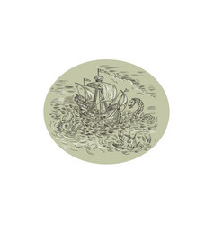 Tall ship turbulent sea serpents oval drawing vector