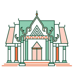 thai temple linecolor vector image