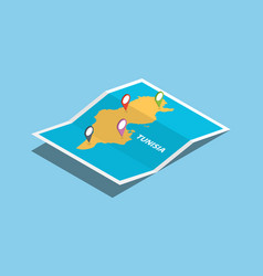 Tunisia africa explore maps with isometric style vector