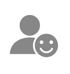 user profile with happy face grey icon smile vector image