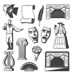 Vintage theatre elements collection vector