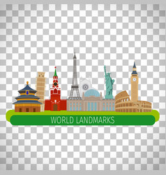 World landmarks on transparent background vector