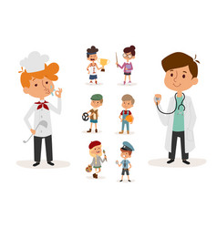 Cartoon profession kids children set vector