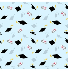 Colored Seamless Pattern with Graduation Caps vector image vector image