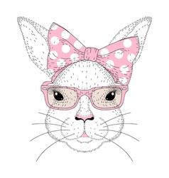 cute bunny girl portrait Hand drawn rabbit fashion vector image vector image