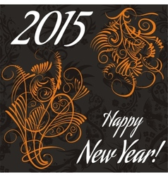 New year card with floral pattern vector image vector image