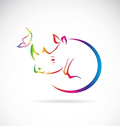 Rhino and Butterfly vector image