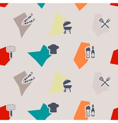 seamless background with symbols of barbecue vector image