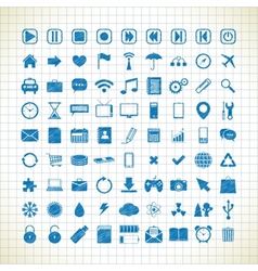 set of media icons in the style of the sketch vector image