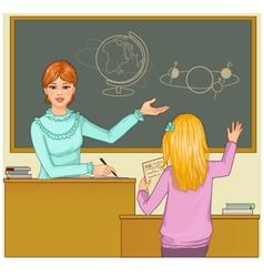 Teacher at blackboard asks children vector image
