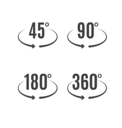 Angle degrees icons design Arrows rotation circle vector image