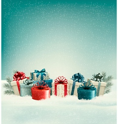 Christmas gift boxes in snow vector