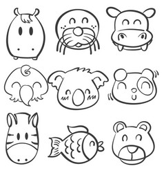 cute animal head doodle style collection vector image vector image