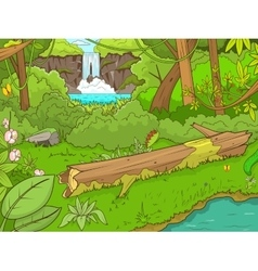 Jungle forest with waterfal cartoon vector image
