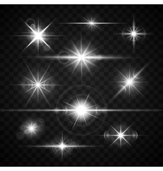 Lens flares glare lighting effects set vector image