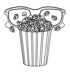 pop corn with 3d glasses icon vector image vector image