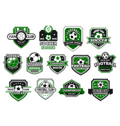 Soccer sport club and football team shield badge vector