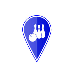 blue map pointer with bowling skittles vector image
