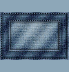 jeans frame with stitches vector image vector image
