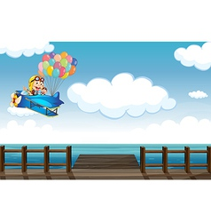A boastful monkey flying on a plane vector image