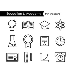 Education and academy thin line outline icons vector image vector image