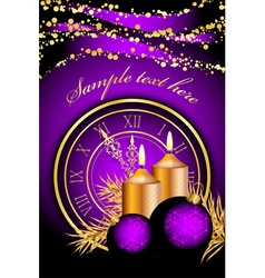 merry christmas clock frame purple gold vector image