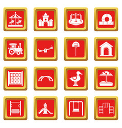 Playground icons set red vector