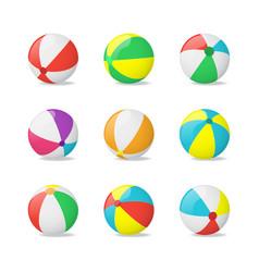 realistic detailed 3d beach balls set vector image vector image