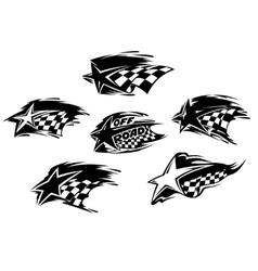 Set of black and white motor sport icons vector image vector image