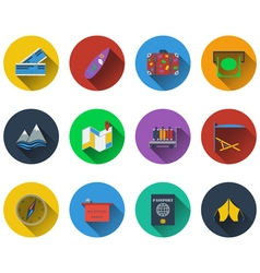 Set of travel icons in flat design vector image vector image