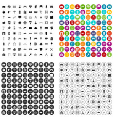 100 architecture icons set variant vector