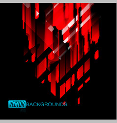 abstract red colors shapes on a black vector image