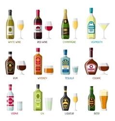 alcohol drinks icon set bottles glasses vector image