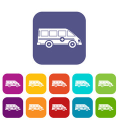 ambulance emergency van icons set flat vector image