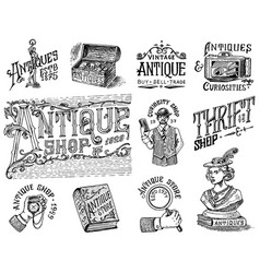 antique shop labels or badges set collection of vector image