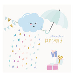 Baby shower invitation card watercolor cartoons vector