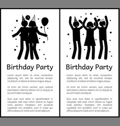 Birthday party banners with people silhouettes vector