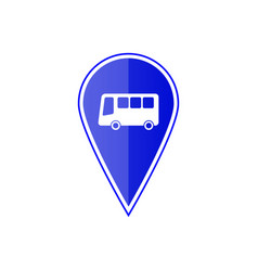 blue map pointer with bus stop vector image vector image