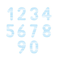 blue watercolor number set1 vector image