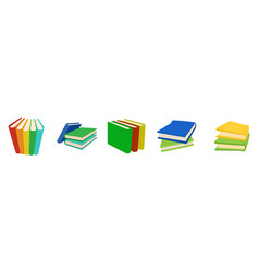 book group icon set cartoon style vector image