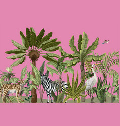 border with jungle trees and wild birds and vector image