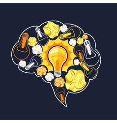 Brain inside glowing light bulb vector image