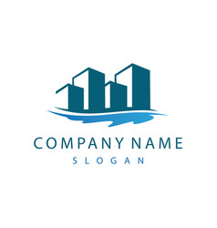 buildings and lake logo vector image vector image