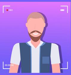 camera screen frame viewfinder rec male blogger vector image