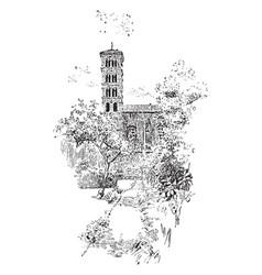 campanile of s alessio s sominics orange tree vector image