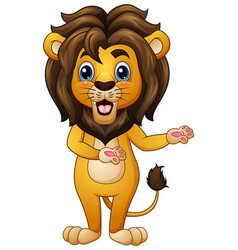 Cartoon lion in welcoming gesture vector